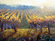 Sunset In Wine Country Paintings - Vineyard Sunset by Carolyn Jarvis