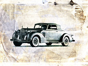Wheels Digital Art Prints - Vintage Car Print by David Ridley