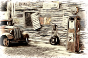 Model A Sedan Prints - Vintage Gas Print by Steve McKinzie