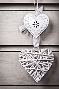Rustic Art - Vintage hearts by Jane Rix