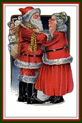 Claus Mixed Media Posters - Vintage Mr and Mrs Claus Poster by Tracey Harrington-Simpson