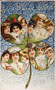 Patricia Hofmeester - Vintage postcard of 1905 with a lucky clover filled with beautif