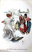 Patricia Hofmeester - Vintage postcard of an american girl in the netherlands