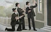 Patricia Hofmeester - Vintage postcard with three men bringing an aubade