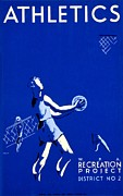 Basketball Sports Prints - Vintage Poster - WPA - Athletics 2 Print by Benjamin Yeager