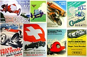 Castrol Posters - Vintage Race Cars Collage Two Poster by Don Struke