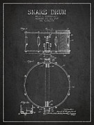 Snare Drum Patent Drawing From 1939 - Dark Print by Aged Pixel