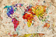 Burnt Posters - Vintage world map Poster by Michal Bednarek