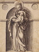 Christ Child Drawings Posters - Virgin and Child Poster by Hans Holbein the Younger