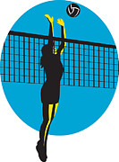 Hitting Prints - Volleyball Player Spiking Ball Retro Print by Aloysius Patrimonio