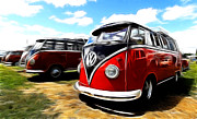 Vw Squareback Framed Prints - VW Micro Bus Framed Print by Steve McKinzie