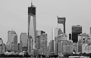 11 Wtc Digital Art Metal Prints - 1 W T  C  and LOWER MANHATTEN in BLACK AND WHITE Metal Print by Rob Hans