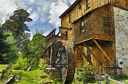 Pencil Drawing Photo Posters - Wades Mill Poster by Kathy Jennings
