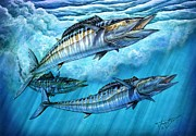 Striped Marlin Painting Prints - Wahoo In Freedom Print by Terry Fox