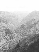 Western Pencil Drawings Prints - Waiamea Canyon Kauai Print by Frank Wilson