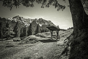 Hannes Cmarits Art - walking in the Alps - bw by Hannes Cmarits