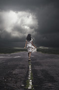 Dark Clouds Photos - Walking On The Street by Joana Kruse
