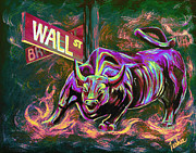 Stock Market Painting Posters - Wall Street Poster by Teshia Art