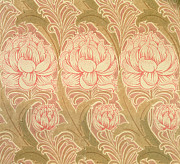 Pink Flowers Tapestries - Textiles Prints - Wallpaper design Print by Victorian Voysey