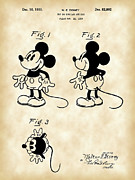 Steamboat Digital Art Prints - Walt Disney Mickey Mouse Patent Print by Stephen Younts