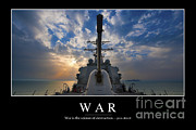 Sea Platform Photo Framed Prints - War Inspirational Quote Framed Print by Stocktrek Images