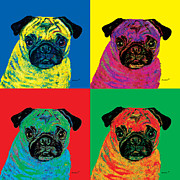 Pugs Framed Prints - Warhol Pug Framed Print by Dale Moses