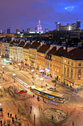 Citizen Photo Framed Prints - Warsaw at Night Framed Print by Artur Bogacki