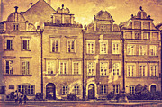 Old Town Digital Art Acrylic Prints - Warsaw Old Town Kanonia Street Sepia Acrylic Print by Izabela Kaminska