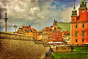 Old Town Digital Art Acrylic Prints - Warsaw Old Town Textured Acrylic Print by Izabela Kaminska