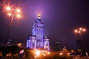 Warsaw Poland Downtown Skyline At Night Print by Michal Bednarek