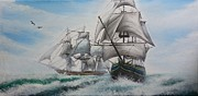 Warship Painting Framed Prints - Warship  Framed Print by Jason Zheng