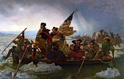 American Flag Digital Art Framed Prints - Washington Crossing The Delaware Framed Print by Emanuel Leutze