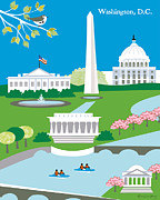 Cherry Blossom Prints - Washington D.C. Print by Karen Young