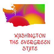 Home Design Abstract Collection - Washington State Map Collection 2 by Andee Photography