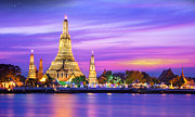 New Year Sunset Prints - Wat arun Print by Anek Suwannaphoom