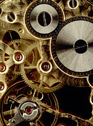 Clocks Metal Prints - Watch mechanism. close-up Metal Print by Bernard Jaubert