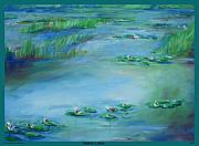 Monet Drawings Posters - Water Lilies Print Poster by Eric  Schiabor