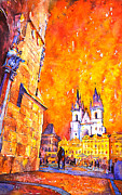 First Friday Posters - Watercolor of Prague Sunrise Poster by Ryan Fox
