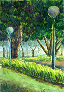Park Scene Paintings - Watercolor by Sunantha Tanom
