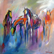 Horses Posters - Watering Hole Poster by Cher Devereaux
