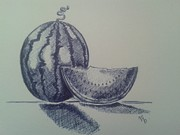 Watermelon Drawings Prints - Watermelon Print by Emese Varga