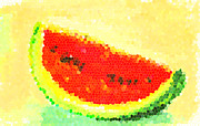Watermelon Painting Posters - Watermelon Poster by Patricia Awapara