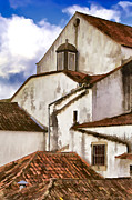 Tile Roof Framed Prints - Weathered Buildings of the Medieval Village of Obidos Framed Print by David Letts