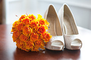 High Heeled Prints - Wedding Shoes And Bouquet Of Orange Roses Print by Lee Avison