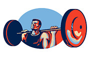 Strength Posters - Weightlifter Lifting Weights Retro Poster by Aloysius Patrimonio