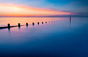 Sunset Seascape Digital Art Prints - Welsh Sunset Print by Adrian Evans