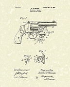 Gun Drawings Posters - Wesson Pistol 1898 Patent Art Poster by Prior Art Design