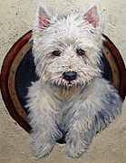 Westie Greeting Cards Posters - West Highland Terrier Dog Portrait Poster by Enzie Shahmiri