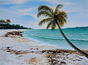 Green Ocean With White Water Prints - West of Zanzibar Print by Sher Nasser