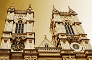 Abbey Greeting Structure Posters - West Towers of Westminster Abbey Poster by MaryJane Armstrong